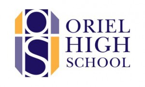 Oriel High School logo with white edge